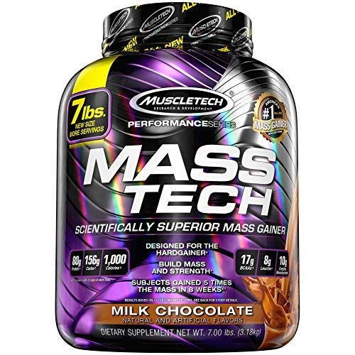MuscleTech Mass Tech Mass Gainer Protein Powder, Build Muscle Size & Strength with High-Density Clean Calories, Milk Chocolate, 7lbs (3.2kg)