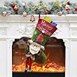 ETLEE Christmas Stockings Plush, 23'' Christmas Decoration for Mantel Hanging Xmas Party Gift Home Decor Accessories - Santa/Reindeer/ Snowman (Santa)