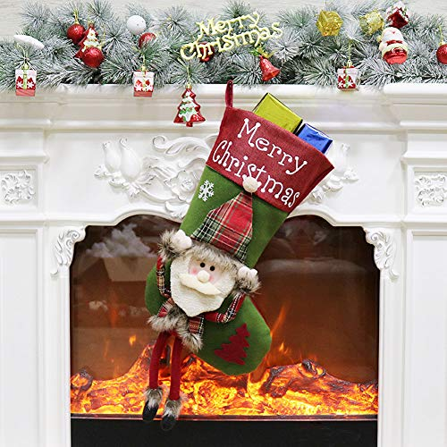 ETLEE Christmas Stockings Plush, 23'' Christmas Decoration for Mantel Hanging Xmas Party Gift Home Decor Accessories - Santa/Reindeer/ Snowman (Santa) ()