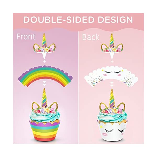 Unicorn Cake Topper & Rainbow Cupcake Wrappers Kit (Set Includes Horn, Ears, Eyelashes) + Happy Birthday Banner Decor… 6