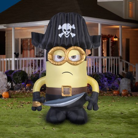[Gemmy Airblown Inflatable 9' X 6' Giant Eye Pirate Matie Minion Halloween Decoration] (Poseidon Greek God Costume)