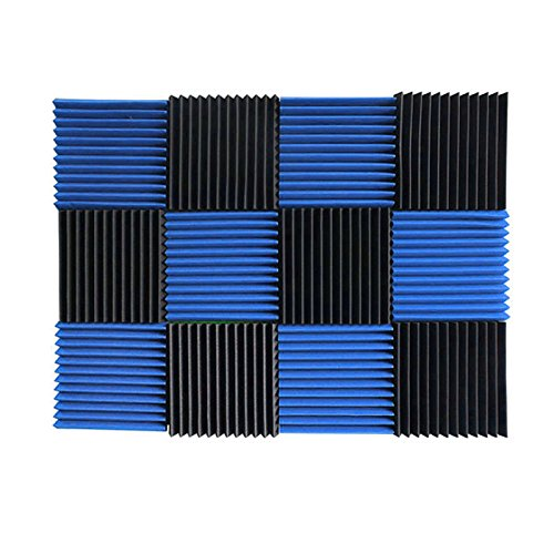 """1""""x12""""x12"""" BLUE / CHARCOAL Acoustic Panels Soundproofing"""