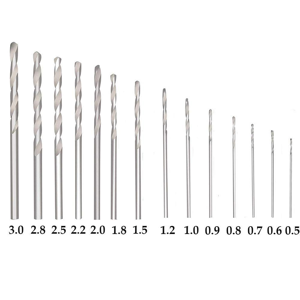WOMGF 14pcs Mini Taladro Manual Kit Aluminio Taladro de mano con bolsa 0.5-3.0mm