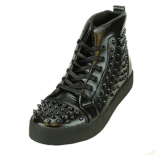 Fiesso Mens PU Leather Stylish Rivet Studded High Top Ankle Flat Boots Black Spikes (8, black)