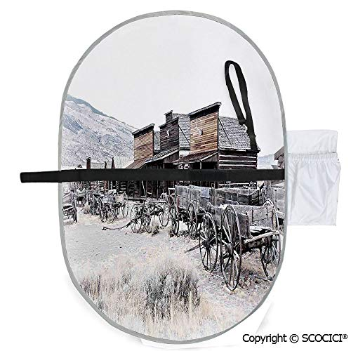 SCOCICI Portable Waterproof Printed Baby Diaper Changing Pad Old Wooden Wagons from 20s in Town Antique Wyoming Wheels Art Print Durable Lightweight Infant Large Nappy Mat 20x27 inch