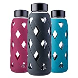 27oz Glass Water Bottle, MIUCOLOR BPA Free Shatter Resistant Large Borosilicate Glass Bottles with Silicone Sleeve for Home Sports and Outdoor, Black
