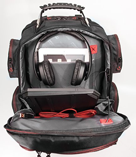 Mobile Edge - Core Gaming Backpack with Molded Front Panel 17''-18'' - Black with Red Trim (MECGBP1) by Mobile Edge (Image #4)
