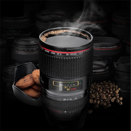 Amazon.com: thumbsUp! Camera Lens Cup, Black: Mugs: Kitchen & Dining