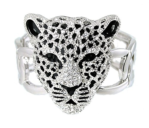 Silver Tone Leopard Head Stretch Bracelet White Crystals Adustable
