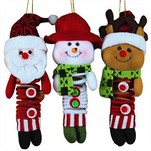 Amosfun 3pcs Christmas Stuffed Animals Soft Plush Snowman Santa Claus Reindeer Doll Christmas Tree Ornaments for Kids (Ornaments Stuffed Snowman)