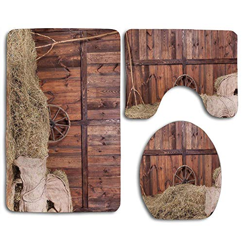 Fedaoyangs-Bath Rugs Barn Wood Wagon Wheel Rural Old Bathroom Rug Mat, Non-Slip 3 Piece Washable Soft Shower Bathroom Mat, Contour Mat and Lid Cover Toilet Sets