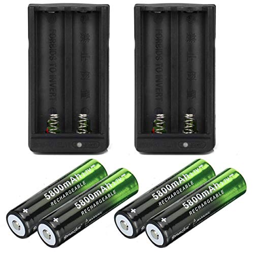 Lightbole 4x18650 lithium 5800mAh Rechargeable Batteries 3.7V And Li-ion 18650 18500 16340 14500 26650 Universal Smart Battery Charger (2PC Charger) ()