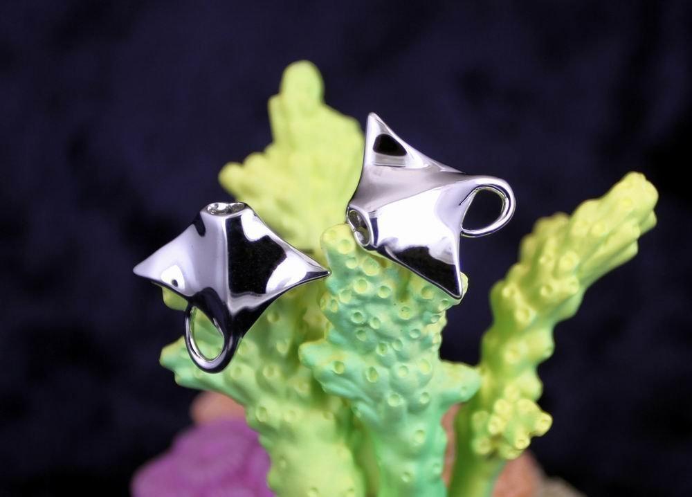Sterling Silver Rhodium Plated Manta Ray Sea Animal Cufflinks ocean marine diver Jewelry
