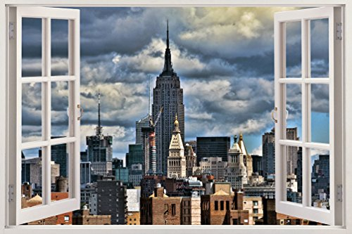 Realistic New York Poster Window Wall Decal – Peel and Stick Urban Decor for Living Room, Bedroom, Office, Playroom – Wall Murals Removable Window Frame Style NYC Wall Art – ()