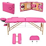 Massage Table Fold Portable Thick Foam Massage Table Facial SPA Beauty Bed Tattoo with Carry Case Pink
