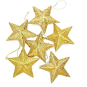 haotfire christmas tree hanging gold silver glitter star decorations ornaments pack of 6 gold - Christmas Star Decorations