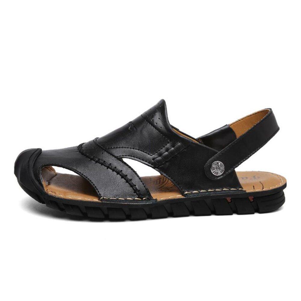 CAI Herrenschuhe aus echtem Leder/Sandaleen Sommer Freizeit/Komfort Hausschuhe Strand/Reise Hausschuhe/Sandaleen (Farbe : Schwarz, Größe : 42)