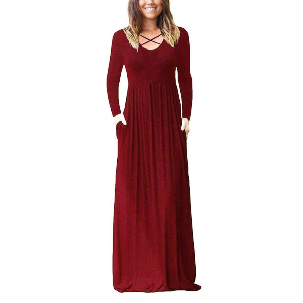 ABsolute Vestido Vestido Largo de Mujer, Maxi Suelta de Color sólido de Bolsillo Liso Vestido Maxi: Amazon.es: Ropa y accesorios