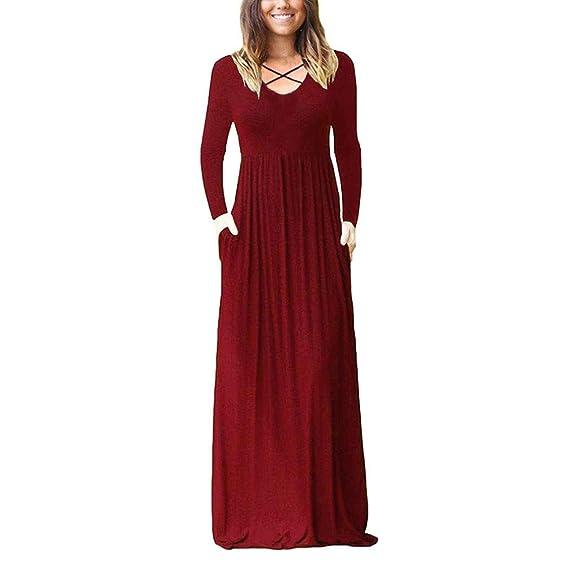 ABsolute Vestido Vestido Largo de Mujer, Maxi Suelta de Color sólido de Bolsillo Liso Vestido