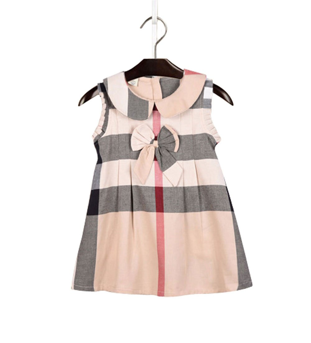 ZANDZ Little Girls Cotton Bow Tie Princess Dress Plaid Casual Summer Dress (2T-3T, Beige)