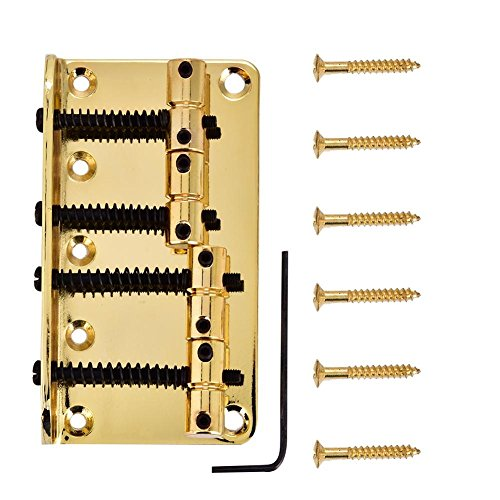 4 String Vintage Style Bass Bridge for 4-String Electric Bass Guitar 3 Colors to choose(Gold)