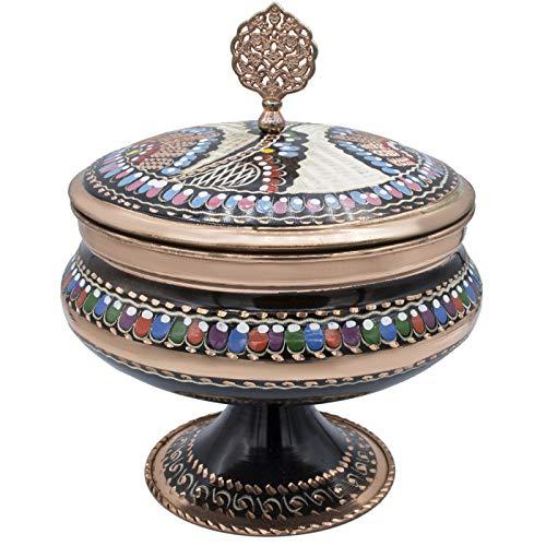 (Pure Copper Sugar Pot Chocolate Candy Bowl Serving Dish Storage Jar Seasoning Pot with Lid Housewarming Gift)