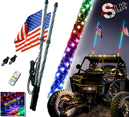SLK-Customs 2pc 4ft Spiral RGB Dancing LED Whip Lights w/Flag Antenna - Accessories for ATV Polaris RZR 4 Wheeler Can-am