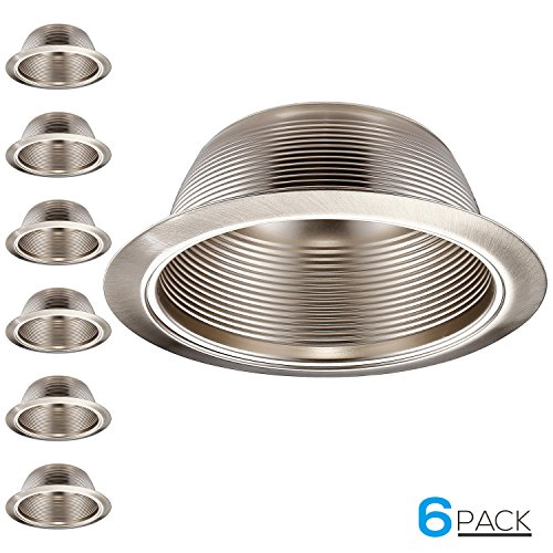 6 Pack 6 Inch Recessed Can Light Trim with Satin Nickel Metal Step Baffle, Detachable Iron Ring Included, Fit Halo and Juno Remodel Recessed Housing