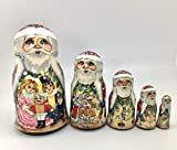 Santa Russian Nesting Doll Nutcracker Fairytale Hand crved Hand Painted 5 Piece Matryoshka Set