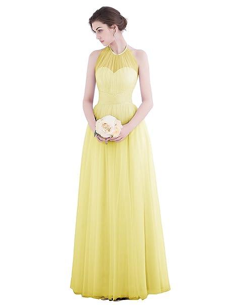 Dresstells reg;Vestido Largo Mujer Halter Sin Mangas Tul Fiesta Boda Noche Partido Amarillo 32
