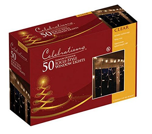 Celebrations 14098-73A Window Icicle Set, 3', 50 Clear Lights, Bulb Color