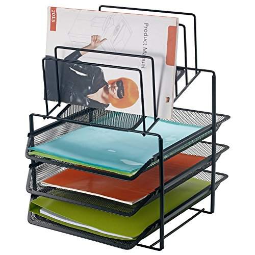 Bonsaii office desktop Letter & File Organizer with 3 Tier Tray and 5 Vertical Sorter Sections ,Black(W6428)