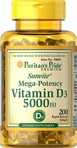 Puritans Pride Vitamin D3 5000 IU Softgels, 200 Count