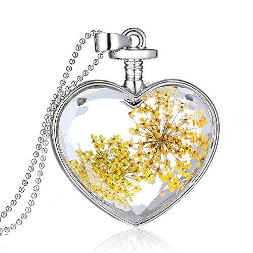 Collier Pendentif Bouteille Coeur en Verre Fleur Séchée Jaune Chaîne Couleur d'Argent