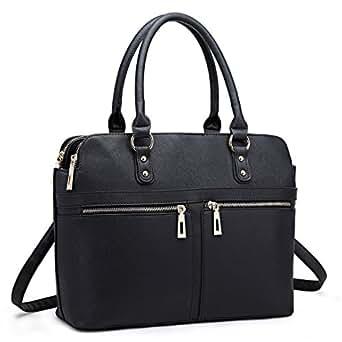 Miss Lulu Women Laptop Handbag Ladies Fashion Shoulder Bag Female PU Leather Large Tote Girls Cross Body Messenger Satchel (Black 1706)