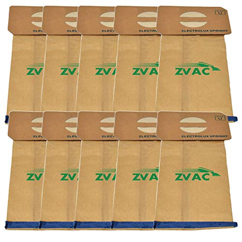 ZVac 10Pk Compatible Vacuum Bags Replacement for Electrolux Vacuum Bags Style U. Replaces Parts# 138FP, 138. Fits Electrolux and Aerus Uprights. Easily Replaces OEM GermGrabber Bags.