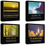"""4Pcs x Motivational Quotes Motto Inspirational Success Teamwork Canvas Stretched Wood Framed Combine Modern Abstract Art For Home Room Office Wall Print Decor 12x12"""" (30x30cm) (657-660)"""