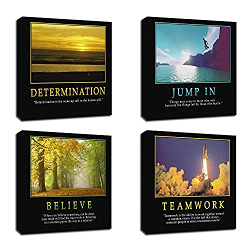4Pcs X Motivational Quotes Motto Inspirational Success Teamwork Canvas  Stretched Wood Framed Combine Modern Abstract Art For Home Room Office Wall  Print ...