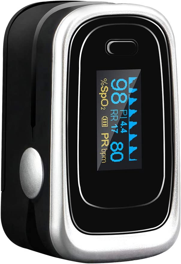 Tomorotec Fingertip Pulse Oximeter Blood Oxygen Saturation Monitor with Silicon Cover, Batteries and Lanyard (Black)