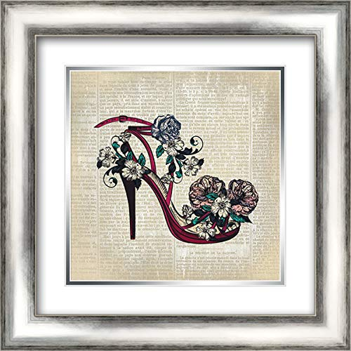 News High Heel - High Heel News 1 20x20 Silver Contemporary Wood Framed and Double Matted Art Print by Kimberly, Allen