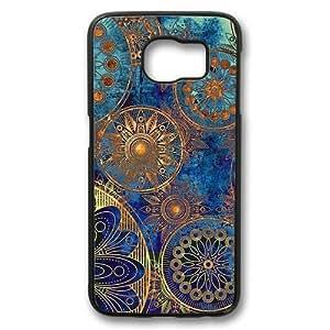 Vintage Retro Mandala Aztec Pattern Theme Samsung Galaxy S6 Case PC Material Black
