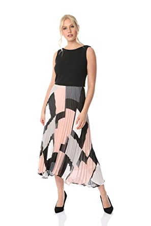 8ece8783e0e Roman Originals Womens Fit and Flare Pleated Dress - Ladies Everyday Smart  Casual Work Office Meeting