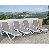 Omega Commercial Lounger 4-pack Tortora (Tan) Fabric with White Frame For Sale