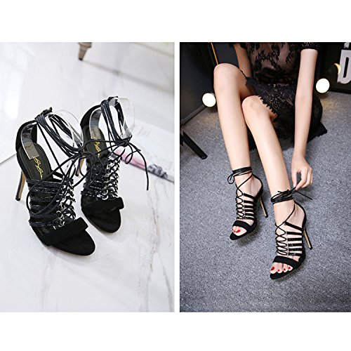 Black Up Lace Women's Stiletto Heels Court CHNHIRA Summer High Shoes Leather 07vFq