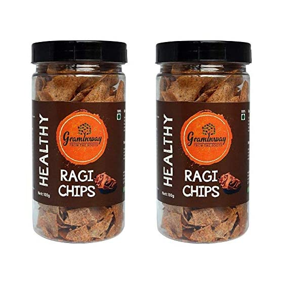 Graminway - From The Roots Healthy Ragi Diet Chips PET Bottle, 2 X 200 g