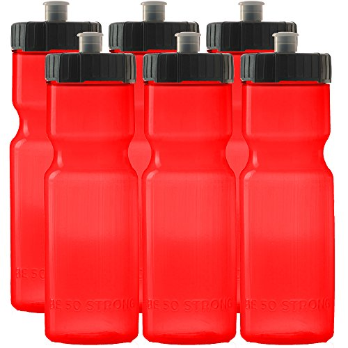 50 Strong Sports Squeeze Water Bottle Team 6 Pack  22 oz. BPA Free Easy Open Push/Pull Cap  USA Made (Red/Black)