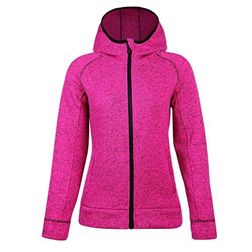 Jacket Winter Training (BELE ROY Women Warm Fleece Winter Jacket Active Outdoor Full-Zip Coat Fleece Lined(Pink,XL))