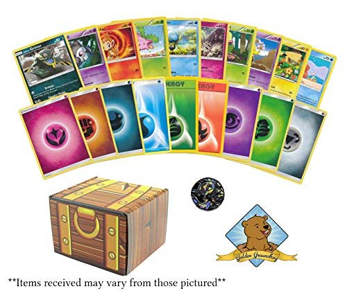 100 Pokemon Card Lot - 50 Energy and 50 Common and Uncommon Cards! with 1 Collectible Coin! Includes Golden Groundhog Treasure Chest - Card Energy Uncommon