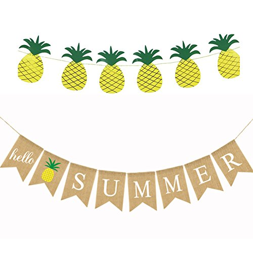 (Hello Summer Banner with Pineapple Banner, Summer Decorations, Summer Party Supplies, Pool Party, Bbq)