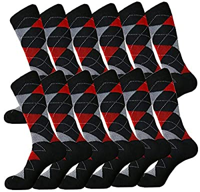 Mens Argyle Groomsmen Socks Matching Dress Socks Sets Groomsmen Wedding Party Socks Cotton Blend 12-pairs Royal Classic 10-13